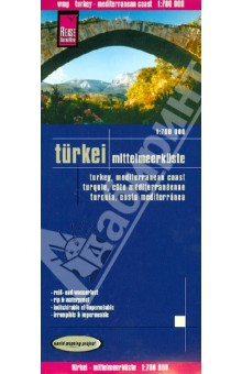 Turkei. Mittelmeerkuste. 1:700 000Атласы и карты мира<br>This map appears in the map series world mapping project in travel expertise. Characteristic is the high-quality, clear and modern cartographic representation.<br>Contour lines with elevation<br>Coloured elevation levels<br>Classified road network with distances<br>Places of interest<br>Detailed local index<br>GPS capability by longitude and latitude<br>UTM mark on the edge of the map<br>