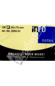 Блок-кубик для заметок желтый, 50х75мм, 100л (5656-01) Info Notes