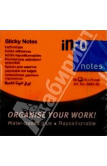 Блок-кубик для заметок неон оранжевый, 125х75мм, 80 листов (5654-35). Info Notes