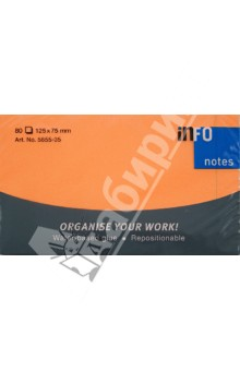 Блок-кубик для заметок неон оранжевый, 75х75мм, 80 листов (5655-351). Info Notes