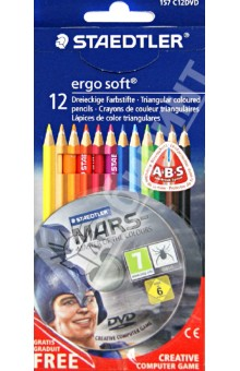 Карандаши цветные Ergosoft 12 цветов (+ DVD) (157C12DVD) STAEDTLER