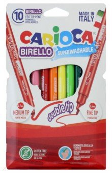 Фломастеры-линеры двухсторонние 10 цветов CARIOCA Birello (41438) Universal