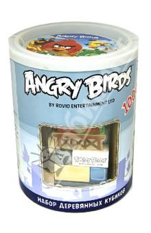 Настольная игра Набор деревянных кубиков Angry Birds в банке. 100 штук. (Т56247)