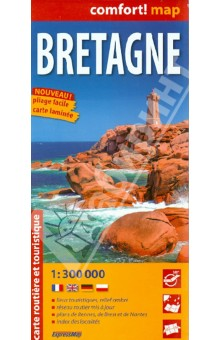 Бретань. Карта. Bretagne 1:300 000Атласы и карты мира<br>This easy-folding laminated comfort! map is durable and water resistant. Map includes up-to-date road network, places of interest, shaded relief and an index of places names. Double sided map.<br>laminated on both sides<br>Масштаб 1: 300 000<br>Легенда на 4 языках<br>
