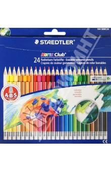 Карандаши цветные с ластиком Noris Club (24 цвета) (144 50NC24)Цветные карандаши более 20 цветов<br>Классические шестигранные карандаши стандартного размера для всех возрастных групп;<br>Система защиты от поломки ABS (Anti-break-system) увеличивает устойчивость и сокращает ломкость грифеля;<br>Прочные грифели сочных цветов;<br>Легко затачивать при любом качестве точилки;<br>Карандаши имеют специальное лакированное покрытие;<br>Цветные карандаши  соответствуют Европейскому стандарту  EN 71 (требования безопасности к игрушкам);<br>Набор из 24 цветов в картонном коробе, имеющем встроенную систему подвески для розничных магазинов;<br>Грифель диаметром 3 мм<br>В комплект входит ластик.<br>Производство: Германия<br>
