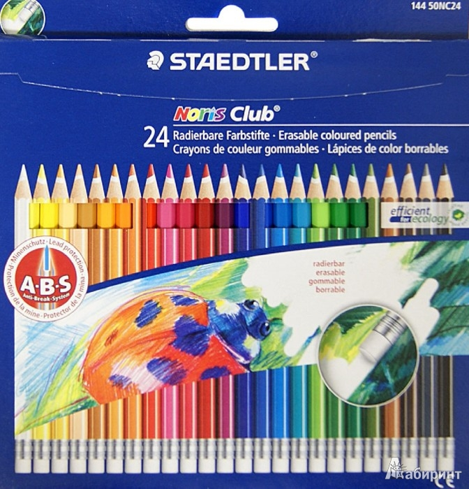 """Иллюстрация 1 из 5 для Карандаши 24 цвета, с ластиком """"Noris Club"""" (144 50NC24)   Лабиринт - канцтовы. Источник: Лабиринт"""