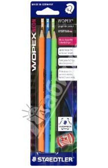 Карандаши чернографитные 3 шт. HB Wopex NEON (180FBK3-2)Наборы карандашей<br>Новый высококачественный шестигранный заточенный карандаш;<br>Карандаш из современного материала Wopex (70% древесины) высшего качества для письма, рисования и эскизов;<br>Нескользкая, бархатистая и мягкая поверхность!<br>Благодаря факту, что карандаши  Wopex произведены по специальной формуле, они являются очень устойчивым к поломке и имеют особо прочный грифель. Таким образом, срок его использования многократно увеличивается;<br>Инновационный материал Wopex гарантирует особенно легкую и острую заточку;<br>Карандаши Wopex являются  PEFC сертифицированными и изготовлены из древесины управляемых лесов.<br>Диаметр грифеля: 2 мм<br>Карандашу STAEDTLER WOPEX из нового композитного материала (дрвесина+пластик) в 2009 году присуждена премия Био Композит года за лучшее применение инновационных материалов и технологии обработки!<br>Сделано в Германии<br>