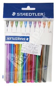 Набор ручек шариковых, 10 цветов (43235MPB10)Наборы шариковых ручек<br>Набор ручек шариковых.<br>Эргономичная трехгранная форма для удобного и легкого письма. Прозрачный корпус. Несмываемые чернила.<br>В наборе 10 цветов: фиолетовый, синий, оранжевый, желтый, синий, красный, розовый, зеленый, коричневый, черный.<br>Упаковка: блистер.<br>Производство: Таиланд<br>