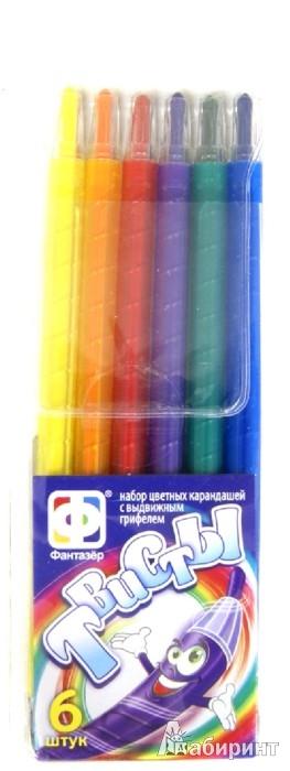 Иллюстрация 1 из 2 для Набор цветных карандашей с выдвижным грифелем. 6 штук (710032) | Лабиринт - канцтовы. Источник: Лабиринт