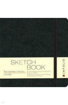 Скетчбук InFolio Euro business (I158/black)Записные книжки средние (формат А6)<br>Скетчбук отличается непревзойденной лаконичностью стильной обложки, которая всегда актуальна и современна. Аскетичный дизайн компенсируется насыщенным цветом. Предназначен для эскизов карандашом, углем, пастелью.<br>Обложка: твердая, с вертикальной резинкой в тон обложки, без прострочки по краю, цвет черный.<br>Резинка под ручку черного цвета.<br>Внутренний блок: 150х150 мм.<br>Количество страниц: 128<br>Внутренний блок: тонированный офсет 120г/м2 цвета слоновой кости, нелинованный. <br>2 ляссе<br>Информационный блок: личные данные.<br>Удобный кармашек внутри для хранения небольших записей и мелких предметов.<br>Сделано в Китае.<br>