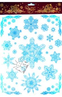 Украшение новогоднее оконное Снежинки (31244)Аксессуары для праздников<br>Украшение новогоднее оконное Снежинки<br>Размер 30 х 38 см.<br>Материал: ПВХ пленка<br>Производство: Тайвань<br>