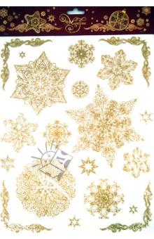 Украшение новогоднее оконное Снежинки (31248)Аксессуары для праздников<br>Украшение новогоднее оконное Снежинки<br>Размер 30 х 38 см.<br>Материал: ПВХ пленка<br>Производство: Тайвань<br>