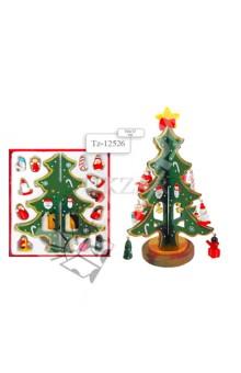 Набор деревянных ёлочных игрушек с ёлкой(TZ 12526)