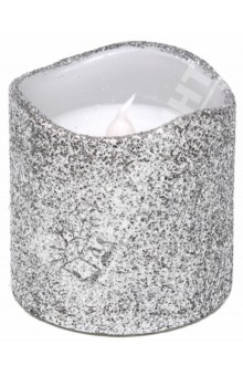 Свеча светодиодная серебряная с блестками (TZ 12403)