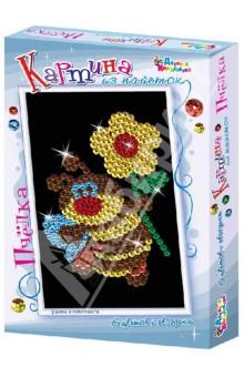 Картина из пайеток Пчелка (01529)Конструирование рамок, коллажей и панно<br>С помощью этого набора ваш ребенок сможет сам создать картину из разноцветных блестящих пайеток.<br>В наборе: <br>- основа и рамка из пенопласта<br>- фон для работы<br>- разноцветные пайетки<br>- булавки-гвоздики<br>- инструкция по изготовлению картины.<br>Не давать детям младше 3-х лет, содержит мелкие детали!<br>Сделано в России.<br>