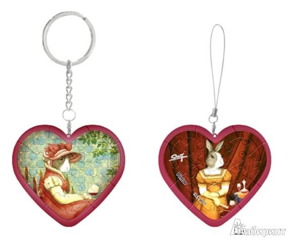 Иллюстрация 1 из 2 для Шаровый пазл Брелок Сердце Кролики (G1081_2.36) | Лабиринт - игрушки. Источник: Лабиринт