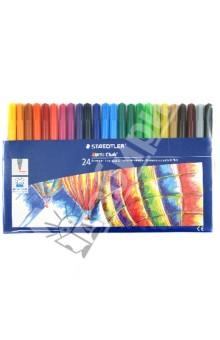 Набор фломастеров NorisClub. 24 цвета (325WP24)Фломастеры 24 цвета (21—30)<br>Набор фломастеров.<br>В наборе 24 цвета.<br>Толщина линии: 1 мм. <br>Вентилируемый колпачок.<br>Отстирывается с большинства поверхностей.<br>Сделано в Германии.<br>