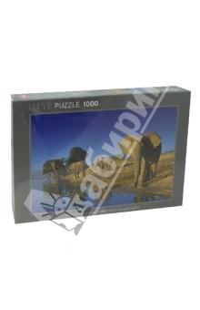 Puzzle-1000 Слоны на водопое (29595)Пазлы (1000 элементов)<br>Пазл-мозаика.<br>Количество элементов: 1000<br>Размер собранной картинки: 70х50 см.<br>Материал: картон<br>Упаковка: картонная коробка.<br>Сделано в Германии.<br>