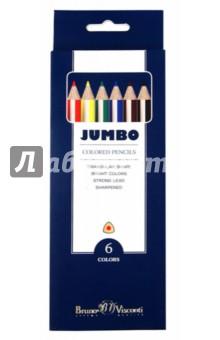 Цветные карандаши утолщенные JUMBO 6 цветов (30-0005)Цветные карандаши 6 цветов (4—8)<br>Карандаши цветные, 6 цветов. Предназначены для рисования. Деревянный корпус. Утолщенная форма Jumbo особенно удобна для маленьких детских пальчиков. Эргономичная трехгранная форма карандаша снижает усталость и обеспечивает максимальный комфорт при использовании. Яркие цвета. Предварительно заточенные. Прочный неломающейся грифель. Многослойная прокраска корпуса предотвращает скольжение пальцев. Размер карандаша 178х10 мм. Диаметр грифеля 5мм.<br>Производство: КНР<br>