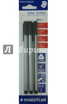Капиллярная ручка Triplus Liner (0,3 мм., черный, 3 штуки)Наборы капиллярных ручек<br>Набор из 3-х капиллярных ручек.<br>Цвет чернил: черный<br>Толщина линии: 0,3 мм.<br>Эргономичный трехгранный корпус, обеспечивающий комфортное письмо без усилий и усталости.<br>Премиальный дизайн, с  гладкой и приятной на ощупь поверхностью.<br>Супер-тонкий и особо прочный металлический наконечник.<br>Идеально подходит как для письма и работы с документами, так и для творчества;<br>Особо мягкое и плавное письмо.<br>Цвет чернил соответствует цвету колпачка и заглушки.<br>Уникальная система DRY SAFE позволяет оставлять ручку без колпачка на несколько дней без угрозы высыхания.<br>Функция  автоматического выравнивания давления, предотвращение от утечки чернил в полете.<br>Сделано в Германии.<br>