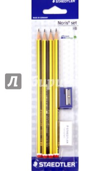 Карандаш чернографитовый Noris (HB, 4 штуки, ластик, точилка) STAEDTLER