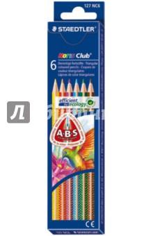 Карандаши 6 цветов, трехгранные Noris Club (127NC6)Цветные карандаши 6 цветов (4—8)<br>Трехгранные цветные карандаши стандартного размера для всех возрастных групп.<br>Специальная эргономичная форма, корректирующая ученический захват, для рисования без усталости и усилий.<br>Система защиты от поломки ABS (Anti-break-system) увеличивает устойчивость и сокращает ломкость грифеля.<br>Прочные грифели сочных цветов.<br>Легко затачивать при любом качестве точилки.<br>Цветные карандаши  соответствуют Европейскому стандарту  EN 71 (требования безопасности к игрушкам).<br>Грифель диаметром 3 мм.<br>Сделано в Германии.<br>