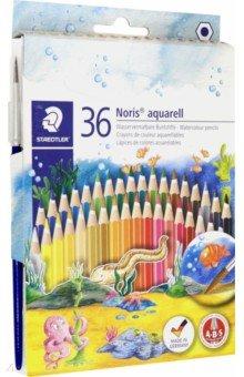 Карандаши акварельные Noris Club (36 цвета, кисть)Цветные карандаши более 20 цветов<br>Акварельный карандаш для широкого спектра возможностей, для творческого подхода к рисованию с помощью воды и кисточки.<br>Акварельный грифель можно смешивать как в сухом, так и в мокром виде.<br>Классические шестигранные карандаши стандартного размера для всех возрастных групп.<br>Система защиты от поломки ABS (Anti-break-system) увеличивает устойчивость и сокращает ломкость грифеля.<br>Прочные грифели сочных цветов.<br>Легко затачивать при любом качестве точилки.<br>Карандаши имеют специальное лакированное покрытие.<br>Цветные карандаши  соответствуют Европейскому стандарту  EN 71 (требования безопасности к игрушкам).<br>В набор входит кисть.<br>Грифель диаметром 3 мм.<br>Сделано в Германии.<br>
