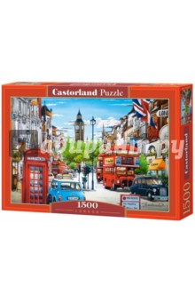 Puzzle-1500 Лондон (C-151271)Пазлы (1500 элементов)<br>Пазл-мозаика. <br>Правила игры: вскрыть упаковку и собрать игру по картинке.<br>Способствуют развитию образного и логического мышления, наблюдательности, мелкой моторики и координации движений руки.<br>Размер собранной картинки: 68х47 см<br>Количество элементов: 1500<br>Материал: картон.<br>Упаковка: картонная коробка.<br>Не давать детям до 3-х лет из-за наличия мелких деталей.<br>Сделано в Польше.<br>