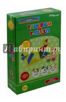 Развивающая игра Танграм и Т-пазл (76529)Обучающие игры-пазлы<br>Игра настольно-печатная на картоне.<br>Книжка с заданиями в каждой игре.<br>Комплектность: танграм, Т-пазл, наклейки, инструкция.<br>Для детей от 3-х лет.<br>Сделано в России.<br>