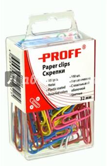 Скрепки металлические, 32 мм, цветные, 100 шт, в пластиковой упаковке (PF0632) Proff