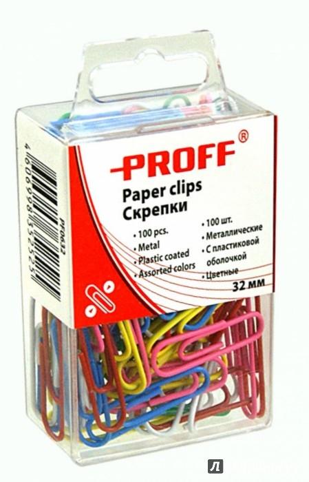 Иллюстрация 1 из 2 для Скрепки металлические, 32 мм, цветные, 100 шт, в пластиковой упаковке (PF0632) | Лабиринт - канцтовы. Источник: Лабиринт