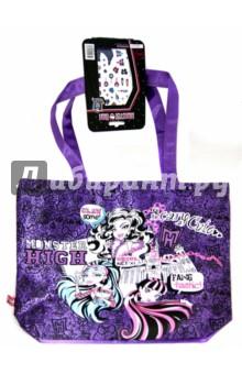 Сумка Monsters Friendship + стикеры (55075)Детские сувениры<br>Сумка Monster High с наклейками.<br>Изготовлена из текстильных материалов, с элементами из металла и пластмассы.<br>Размер сумки (без ручек): 335х385 мм<br>Для детей от 7-ми лет.<br>Запрещено детям до 3-х лет. Содержит мелкие детали.<br>Сделано в Китае.<br>