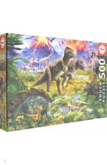 Пазл-500 Встреча динозавров (15969)Пазлы (400-600 элементов)<br>Пазл-мозаика.<br>Состоит из 500 элементов.<br>Размер собранной картинки: 48х34 см.<br>Правила игры: вскрыть упаковку и собрать игру по картинке.<br>Не давать детям до 3-х лет из-за наличия мелких деталей.<br>Упаковка: картонная коробка.<br>Состав: бумага, картон.<br>Сделано в Испании.<br>