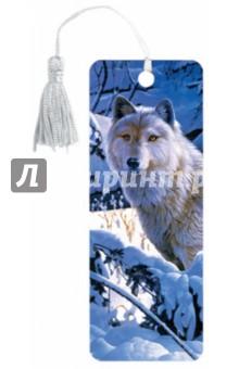 """3D закладка для книг с линейкой """"Белый волк"""" (125752)"""