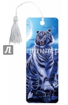 """3D закладка для книг с линейкой """"Белый тигр"""" (125754)"""