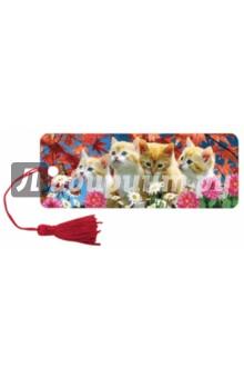 """3D закладка для книг с линейкой """"Котята"""" (125762)"""