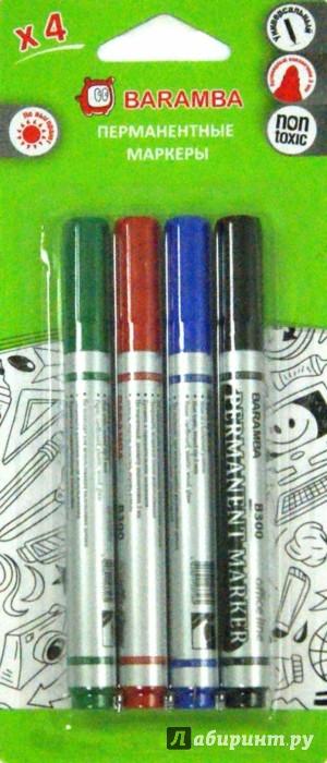 Иллюстрация 1 из 5 для Набор перманентных маркеров (4 цвета) (BM0034) | Лабиринт - канцтовы. Источник: Лабиринт