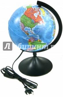 Глобус Земли политический с подсветкой (диаметр 210) (ГЗ-210пп)Глобусы<br>Глобус Земли политический.<br>С подсветкой. <br>Диаметр 210 мм.<br>На подставке.<br>Материал пластик. <br>Сделано в России.<br>
