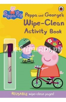 Peppa and Georges Wipe-Clean Activity BookАнглийский для детей<br>Have hours of fun with Peppa and George s Wipe-Clean Activity Book.<br>Little Peppa Pig fans will love this activity book they can enjoy over and over again! Use your very own Peppa Pig pen on the piggy puzzles, games and activities in this book. Then, wipe the pages clean and start all over again! Endless fun with Peppa, George and all their friends. Snort! Snort!<br>The Peppa Pig range of books are fun, interactive and educational, ideal for encouraging children to start to read by themselves. <br>Includes a free pen.<br>
