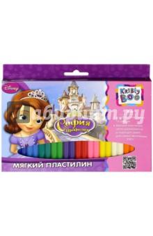 """Мягкий пластилин """"Принцесса София"""", 12 цветов, 24 штуки (54425) KriBly Boo"""