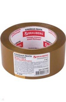 Лента клейкая упаковочная (48 мм х 100 м, коричневая) (221688) Brauberg