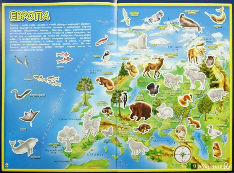 Иллюстрация 1 из 23 для Атлас мира с наклейками. Животные и растения   Лабиринт - книги. Источник: Лабиринт