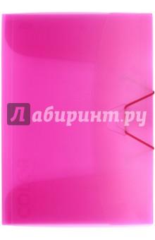 Папка  с клапанами и резинкой, розовый полупрозрачный (85549)