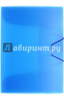 Папка с клапанами и резинкой, синий полупрозрачный (85551)