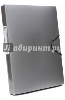 Папка-бокс с резинкой, серебристый металлик (85565)