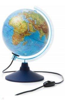 Глобус Земли физический с подсветкой (d=210 мм) (Ке012100179)Глобусы<br>Глобус Земли физический с подсветкой <br>Диаметр - 210 мм.<br>На пластиковой подставке. <br>Упаковка: фирменный пакет и картонная коробка.<br>Имеется переключатель подсветки на шнуре.<br>Сделано в России.<br>
