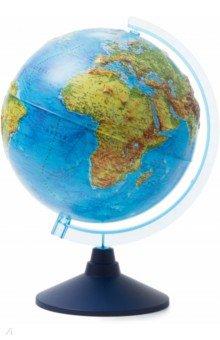 Глобус Земли физический рельефный (d=250 мм) (Ке022500193)Глобусы<br>Глобус Земли физический рельефный.<br>Диаметр - 250 мм.<br>Глобус c физической картой мира, на которой полуостров Крым уже в составе РФ. <br>На глобусе указаны континенты, острова, горы, реки, крупные города и многое другое.<br>Оптимальный размер для настольного глобуса.<br>Масштаб :  1 : 50 000 000<br>Без подсветки.<br>На пластиковой подставке. <br>Сделано в России.<br>