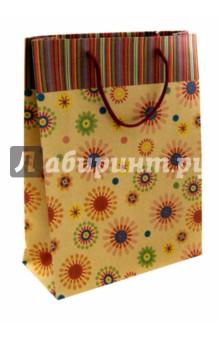 """Пакет бумажный """"Радужные цветочки"""" (24х33х8 см) (38871)"""