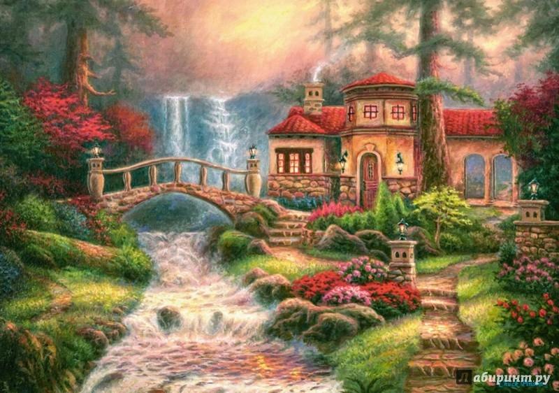 """Иллюстрация 1 из 3 для Puzzle-500 """"Дом у водопада"""" (B-52202)   Лабиринт - игрушки. Источник: Лабиринт"""