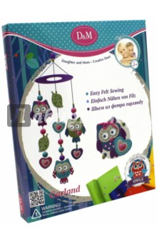 Набор шьем гирлянду Совы (57960)Шитье, вязание<br>Набор для шитья гирлянды Совы.<br>В наборе: 9 фетровых заготовок, 1 пластиковая игла, 3 мотка ниток разных цветов, 35 страз, 4 пуговицы, 1 лента, инструкция.<br>Материал: текстиль, пластик.<br>Упаковка: картонная коробка.<br>Для детей от 5 лет.<br>Сделано в Китае.<br>
